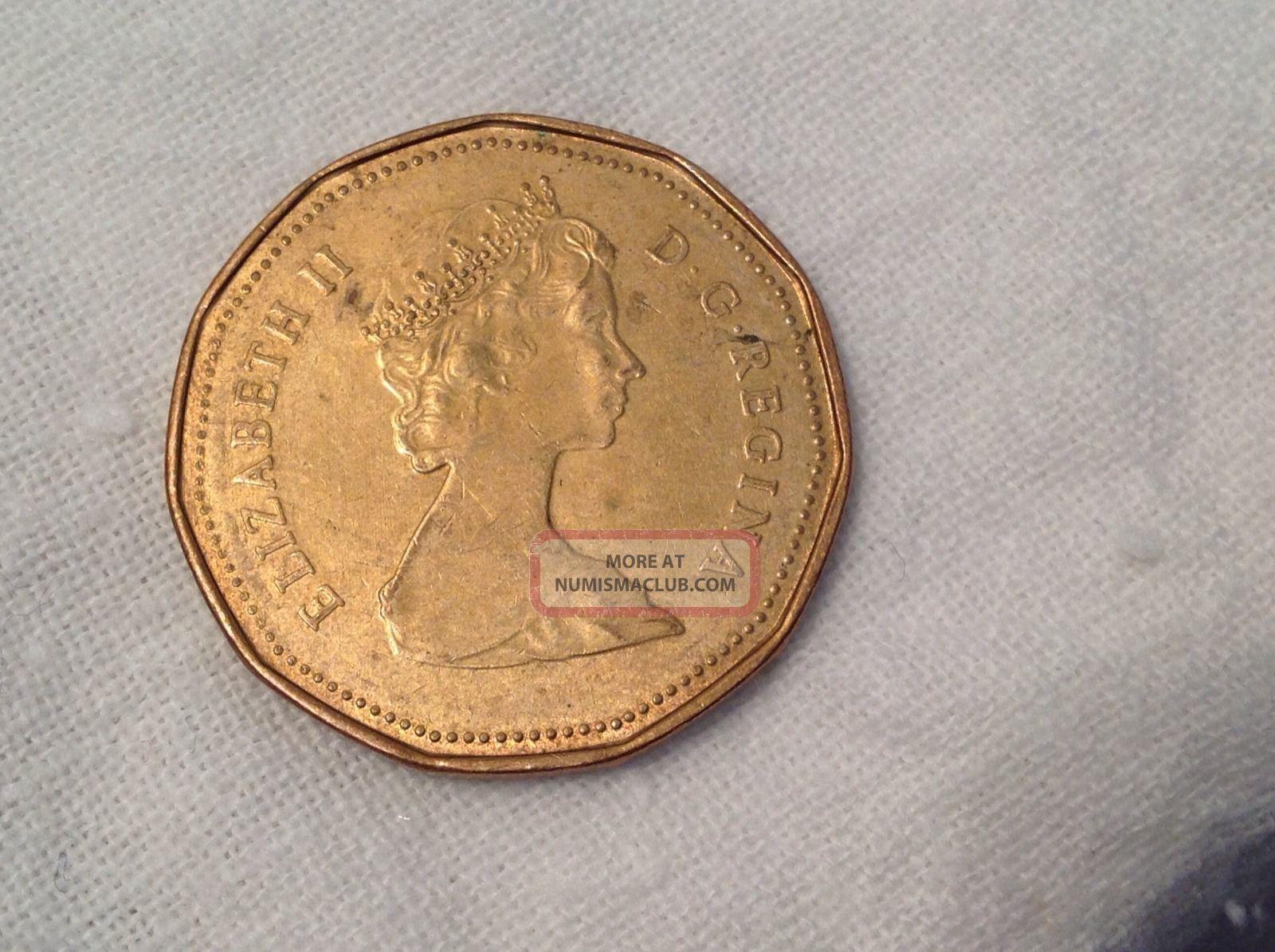 1987 Coin Canada Canadian Loon Loonie Queen Elizabeth Ii One 1 Dollar Money