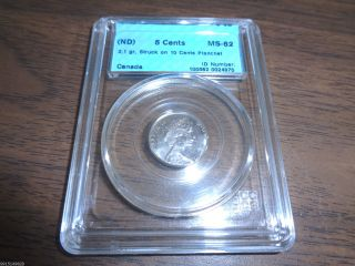 No Date Canada 5 Cents Struck On 10 Cents Planchet Error 2.  1 Gr Cccs Ms - 62 photo