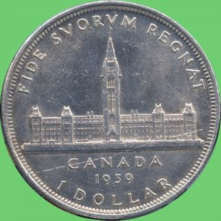 1939 Canada Silver Dollar Coin (23.  33 Grams, .  800 Silver) No Tax photo