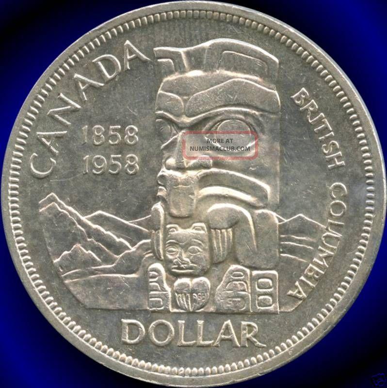 1958 Canada Silver Dollar British Columbia S 100th 23