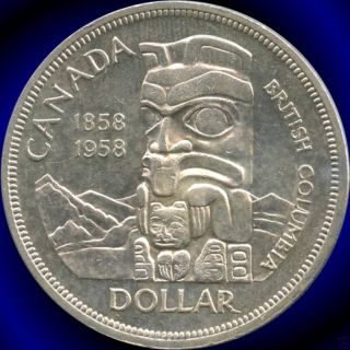 1958 Canada Silver Dollar (british Columbia ' S 100th) (23.  33 Grams.  800 Silver) photo