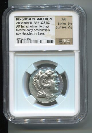 Kingdom Of Macedon Alexander Iii 336 - 323 Bc Tetradrachm Heracles Ngc Au photo