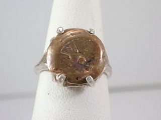 Widows Mite Authentic Coin Ladies Ring Sterling Silver Mounting By Lorenzo A photo