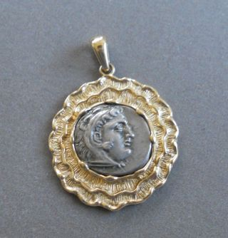 14k Gold Pendant Auth Alexander The Great Ancient Greek Silver Coin Drachm photo