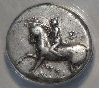 Taras,  Calabria,  Italy,  Silver Didrachm,  272 - 235bc,  Horseman/dolphin Anacs Xf photo