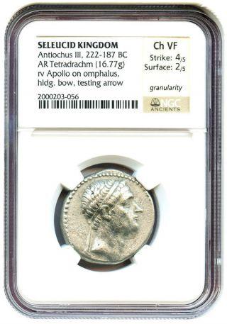 222 - 187 Bc Antiochus Iii Ar Tetradrachm Ngc Vf (ancient Greek) photo