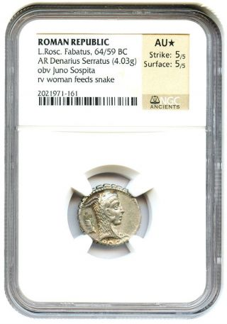 64/59 Bc L.  Rosc Fabatus Denarius Serratus Ngc Au (ancient Roman) photo