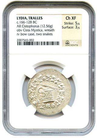 166 - 128 Bc Tralles Ar Cistophorus Ngc Choice Xf (ancient Greek) photo