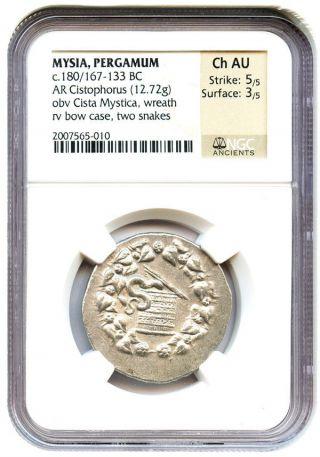 180/167 - 133 Bc Pergamum Ar Cistophorus Ngc Choice Au (ancient Greek) photo