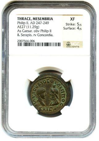 Ad 247 - 249 Philip Ii Ae27 Ngc Xf (ancient Greek) photo