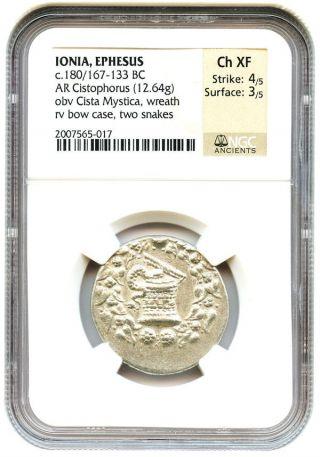 180/167 - 133 Bc Ar Cistophorus Ngc Choice Xf (ancient Greek) photo