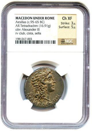 95 - 65 Bc Aesillas Ar Tetradrachm Ngc Ch Xf (ancient Roman) photo