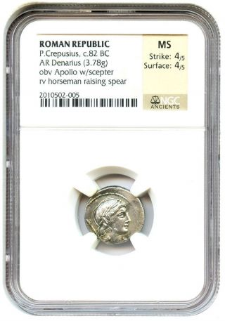 82 Bc P.  Crepusius Ar Denarius Ngc Ms (ancient Roman) photo
