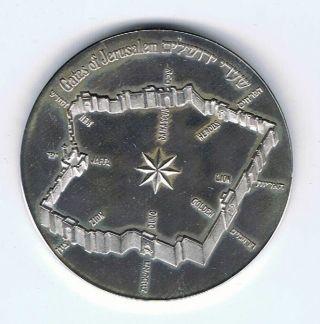Israel 1981 Gates Of Jerusalem State Medal 37mm 26g Silver +olive Wood Box & photo