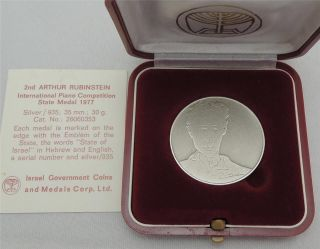 Israel 1977 2nd Artur Rubinstein Compt.  By Picasso 35mm 30gr Silver 935 +box+coa photo