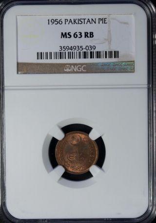 1956 Pakistan Pie Ngc Ms 63 Rb Unc Bronze photo