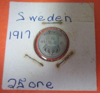 Sweden 25 Ore Silver,  1917 photo