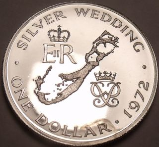 Rare Silver Proof Bermuda 1972 Dollar Silver Wedding Anniversary 14k Minted Fr/s photo