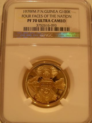 Papua Guinea 1979fm Gold 100 Kina Ngc Pf - 70uc Four Faces Of The Nation photo