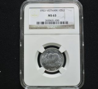 Ngc Ms - 63 Bu 1953 Vietnam Aluminum 10 Su Unc Uncirculated photo