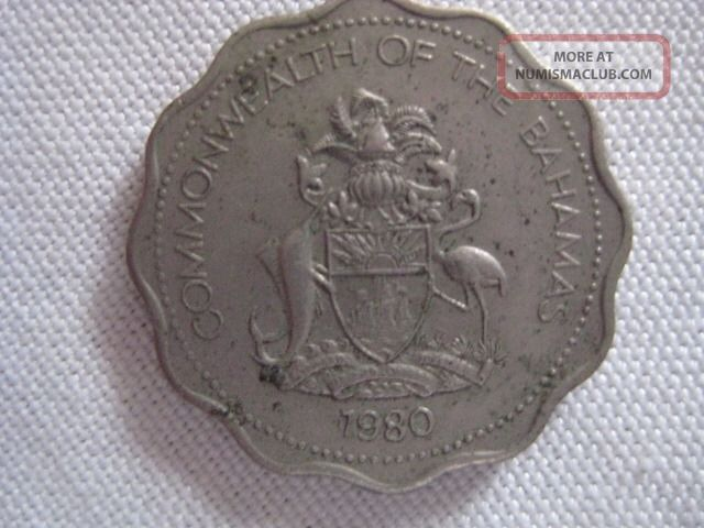 1980 Commonwealth Of The Bahamas Ten Cents Coin