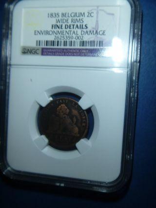 1835 Belgium 2 Centimes - Wide Rims - Ngc Fine Details - Environmental Damage - Ncg3 - 2 photo