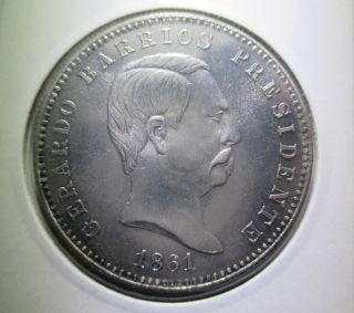El Salvador Peso 1861 Silver Pattern On3 Oficial Recoinage Rare photo