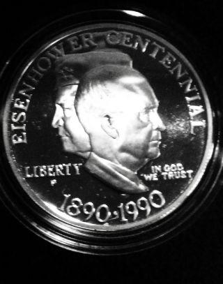 U.  S.  1990 P Eisenhower Centennial Silver Proof Dollar Commemorative photo