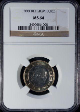1999 Belgium 1 Euro Ngc Ms 64 Unc photo