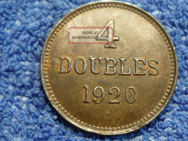 Guernsey: Scarce 4 Doubles 1920 - H About Uncirculated UK (Great Britain) photo