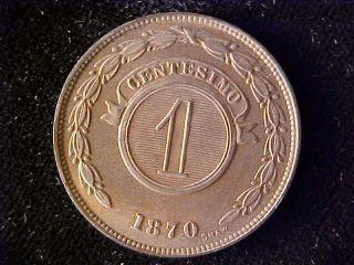 Paraguay One Centesimo 1870 Full Red Bu photo
