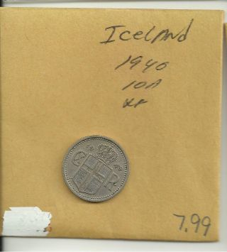 1940 Iceland 10 Aurar Coin C/n London Km 1.  2 photo