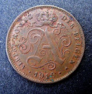 Belgium 1919 2 Centimes,  Grade photo