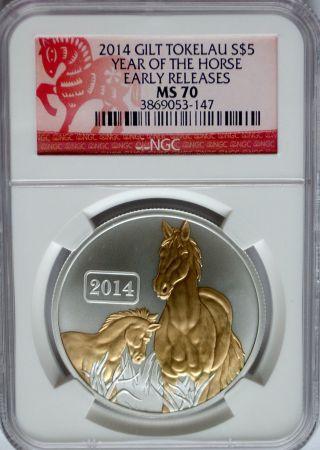 2014 Tokelau Lunar Horse Gold Gilt $5 Coin Rare Silver Usa Ag photo