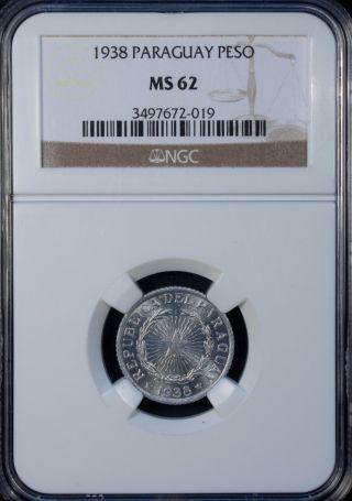 1938 Paraguay 1 Peso Ms 62 Unc Aluminum photo