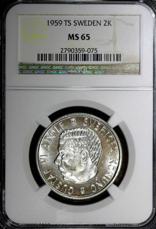 Sweden Gustaf Vi Silver 1959 Ts 2 Kronor Ngc Ms65 Top Graded Mintage 581,  330 photo
