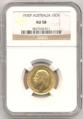 1930 - P Gold Sovereign Australia,  Scarce,  Ngc Au - 58 photo