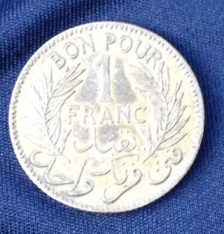 Tunisia - Franc - 1926 Coin 1 Franc Bon Pour Vintage photo