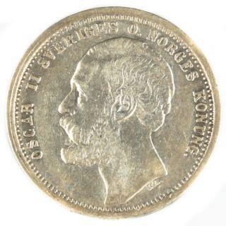 1875 St Sweden 1 Krona Vf Silver Coin Rare Foreign Swedish Coin photo