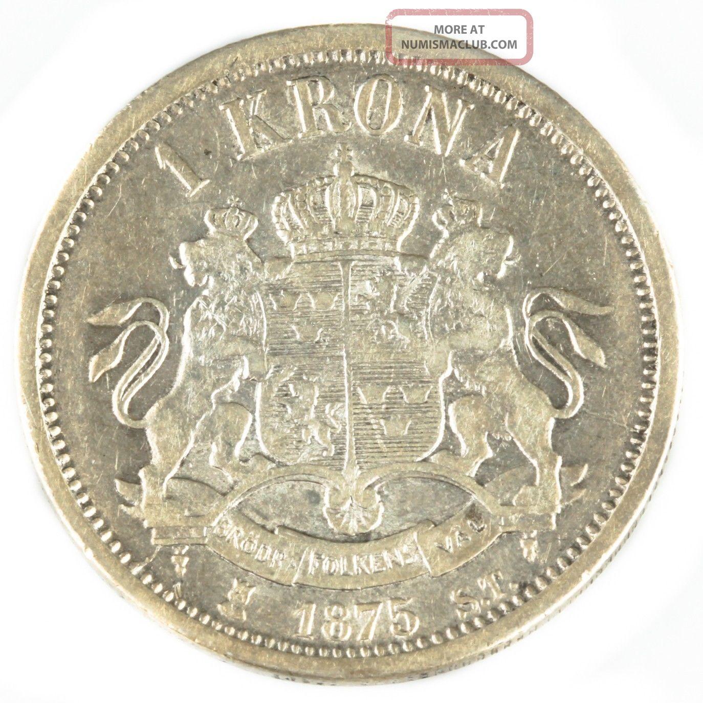 1875 St Sweden 1 Krona Vf Silver Coin Rare Foreign Swedish ...