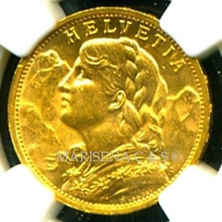 1898 B Switzerland Gold Coin 20 Francs Ngc Cert Ms 63 Brilliant Scarce photo