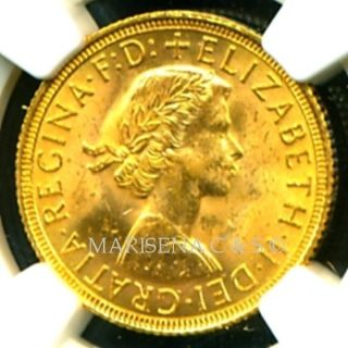 1958 Britain Q E Ii Gold Coin Sovereign Ngc Cert.  Ms 63 Dazzling photo