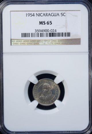 1954 Nicaragua 5 Centavos Ngc Ms 65 Unc Copper - Nickel photo