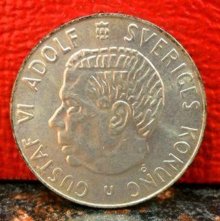 1963u Silver Krona From Sweden Km 826 photo