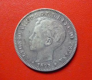 Puerto Rico Silver Coin 20 Centavos,  Km22 Xf++ 1895 Pgv - Spanish Colony photo