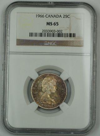 1966 Canada Silver Quarter 25c Ngc Ms - 65 Gem Coin Toned Akr photo