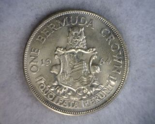 Bermuda Crown 1964 Bu Silver British Coin (lux 515) photo