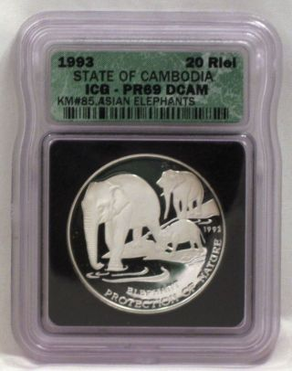 Cambodia 1993 20 Riels Icg Pr69 Dcam Elephants 999 Silver Coin Ede6 - 08 photo