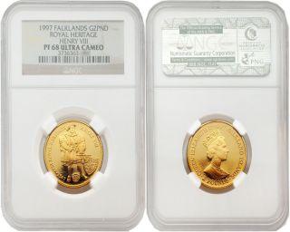 Falklands 1997 Royal Heritage Henny Viii 2 Pounds 1/4 Oz Gold Ngc Pf - 68 photo