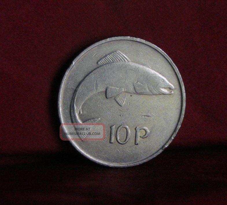 1980 Ireland 10 Pence Copper Nickel World Coin Km23 Irish Harp Salmon Fish Eire Europe photo